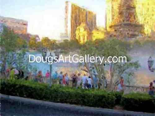 View of Bellagio Hotel Fountains Las Vegas