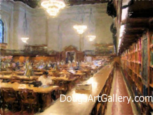 Art print of New York City Public Library 5th avenue in the reading room