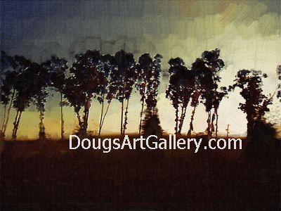 artwork of Trees along Hwy 12 in Napa, CA
