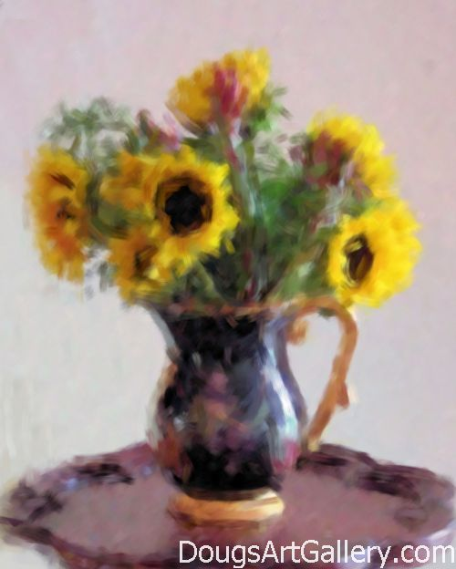 Sunflowers still life with ceramic vase