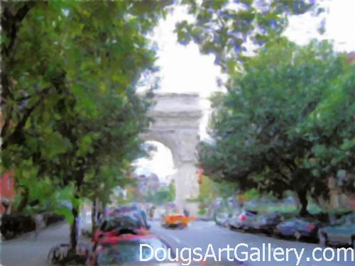 Art print of Washington Square Arch in Greenwich Village