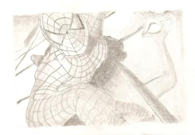 how to draw spiderman in pencil